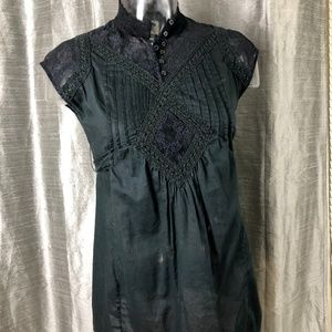 Free People Cotton Lace Black Pleated Button Shirt